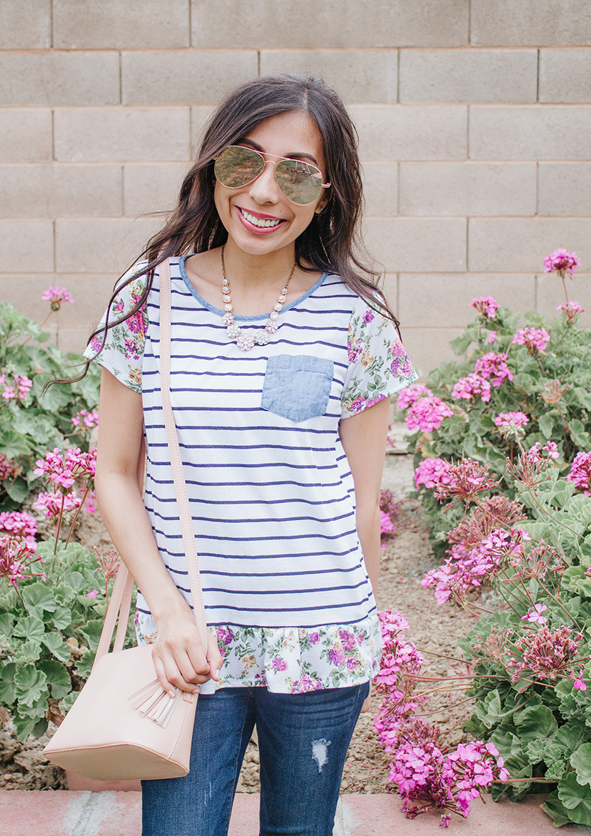 striped tee with floral sleeves modest refashion