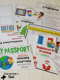 Christmas Around the World Unit- December Activities and primary resources plus three FREEBIES- fun ELA, math, and social studies activities for students during the month of December