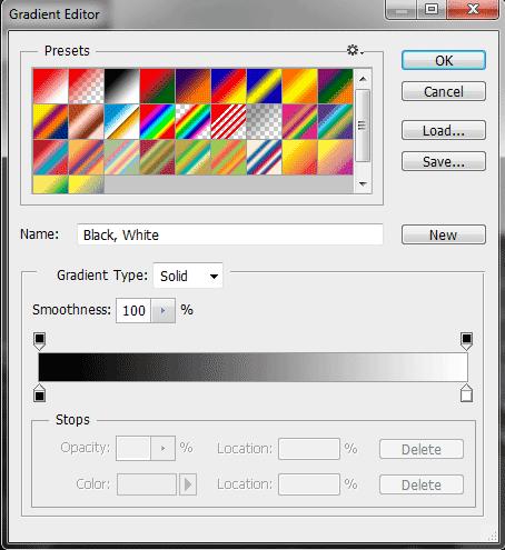 Jendela gradient editor.