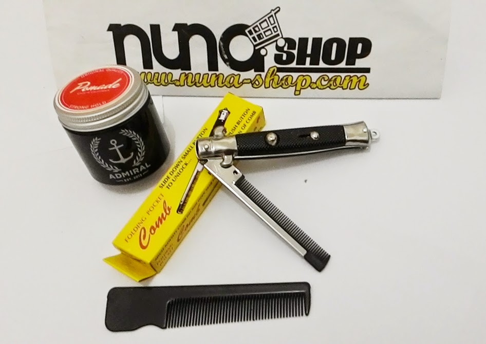Paket Hemat Pomade Admiral Strong Hold + Switchblade Comb