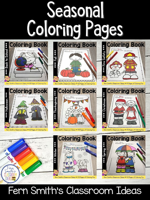 You can click on the picture or the caption below it to arrive at my TpT store already sorted for the grade level items you want for your class. Seasonal Coloring Pages for your Pre-K, Kindergarten, or First Grade Students. #FernSmithsClassroomIdeas