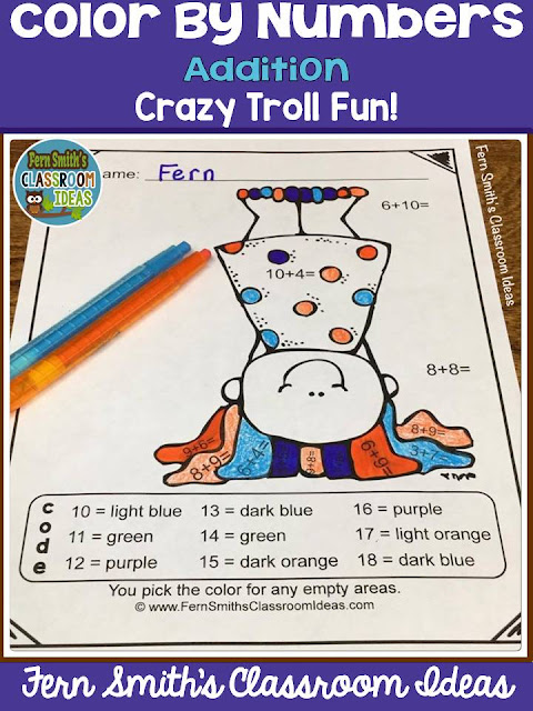 Free - Today Only! Fern Smith's Classroom Ideas Color By Numbers Crazy Trolls for Addition at TpT.