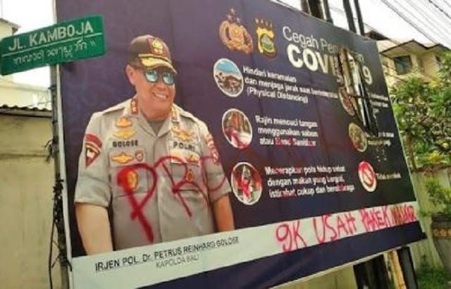 Baliho Wajah Kapolda Bali Sasaran Vandalisme, Begini Penampakannya