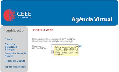 Imagem do Painel de acesso da Agência Virtual CEEE
