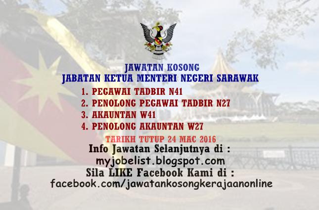 Jawatan Kosong Di Jabatan Ketua Menteri Negeri Sarawak 24 Mac 2016