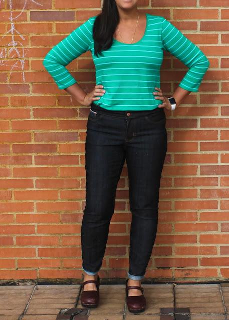 Handmade black denim skinny jeans.