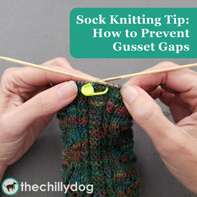 Sock Knitting Tip: The easiest way to prevent gusset gaps for flap and gusset heels and all you need is two locking stitch markers