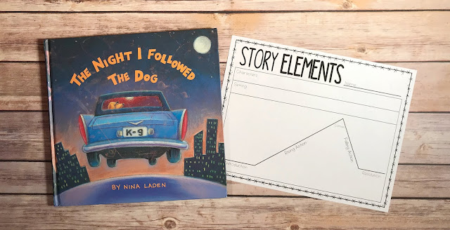 "Mentor Text with text ""The Night I Followed the Dog"" and Graphic Organizer with text ""Story Elements"""
