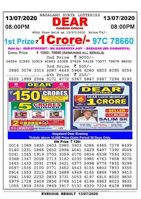 Nagaland State Lotteries 13-07-2020 Lottery Sambad Result 8:00 PM