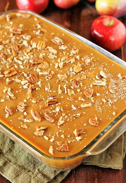 Old-Fashioned Apple Cake Iced with Boiled Caramel Topping Image