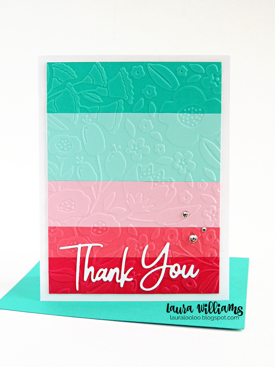 Want to create a fun new handmade card with your embossing folders? Try this idea using scraps of paper and your favorite embossing folder for a striped rainbow card for any occasion!  Stop by my blog to see just how to create a striped embossed cardmaking project using dies, cardstock and embossing folders from Spellbinders