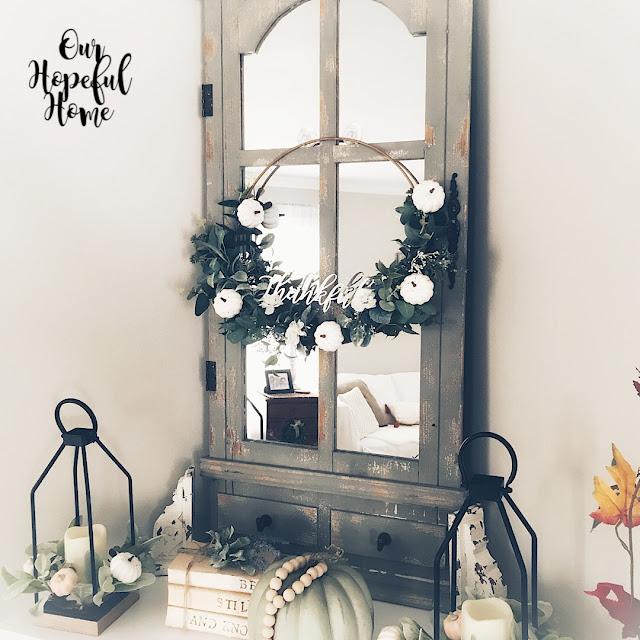 corner mantel decor vintage door window hoop wreath
