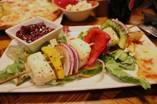 Halloumi skewer at Chiquito Friars Walk Newport with salad and cranberry salsa