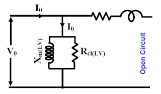 Equivalent circuit under open circuit O.C test