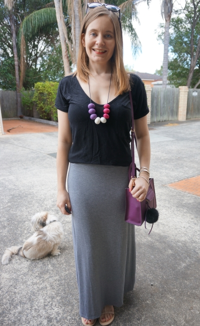 neutral maxi skirt and tee outfit colourful purple accessories | Away From Blue