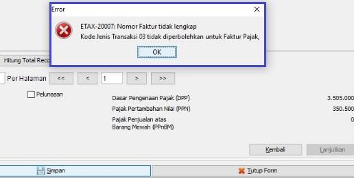 Solusi Error ETAX-20007 Nomor Faktur Tidak Lengkap