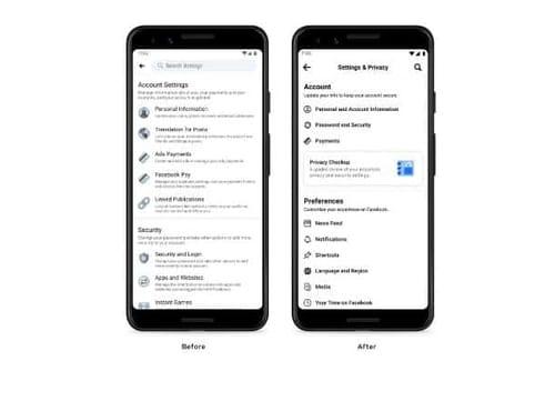 Facebook simplifies settings page by phone