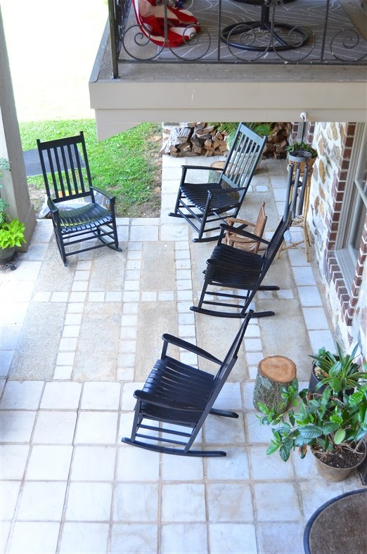 Front Porch of Stonecrest with Black Rockers by Amy Renea of  A Nest for All Seasons Decor Americana