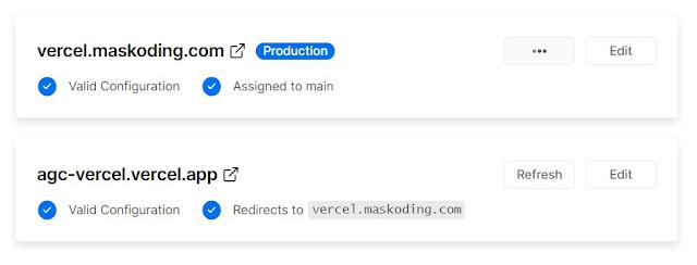semua configurasi pointing domain berhasil di vercel