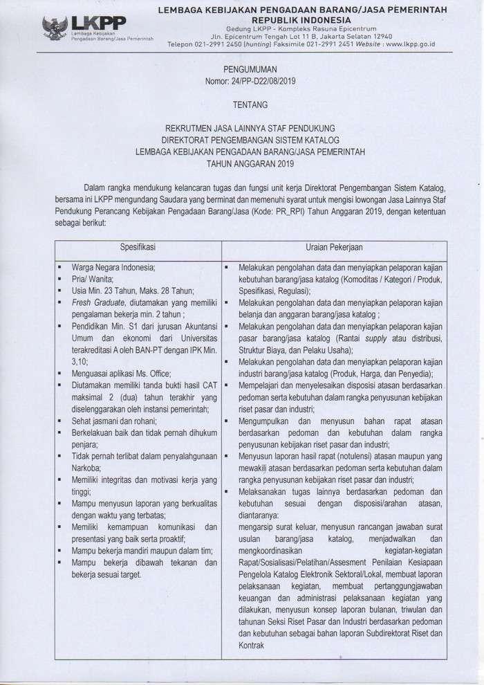 Lowongan Kerja Terbaru Staf Pendukung Perancang Kebijakan LKPP