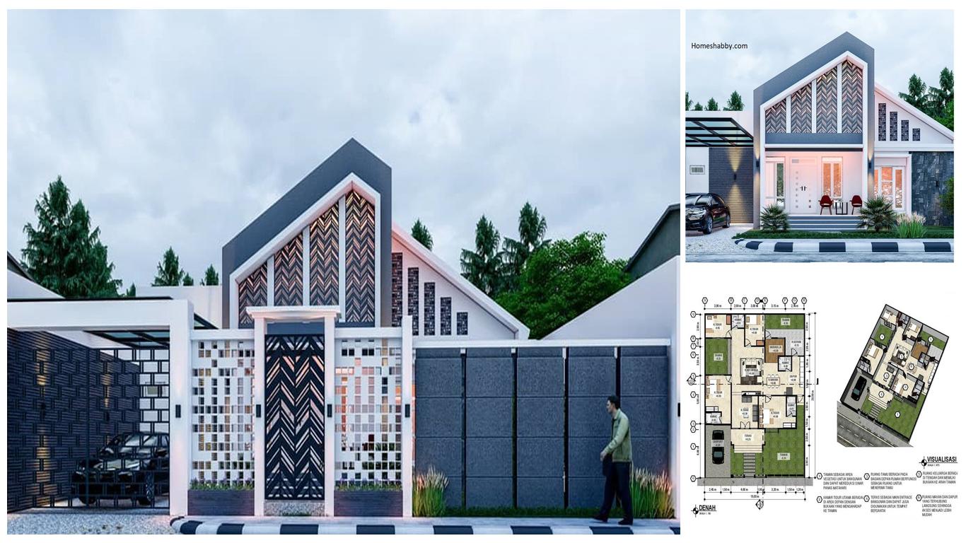 Desain Dan Denah Rumah Ukuran 15 X 20 M Konsep Tropical Modern Terdapat 4 Kamar Tidur Musholla Homeshabby Com Design Home Plans Home Decorating And Interior Design