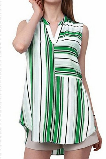 V Neck Asymmetric Hem Striped Blouses -Price:$18.00