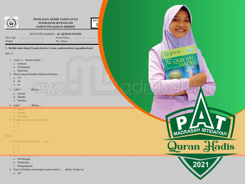 Soal PAT Quran Hadis MI
