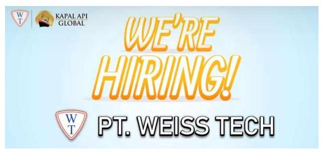 Lowongan Kerja Pegawai PT. Weiss Tech (Kapal Api Global GROUP) Bulan September 2020