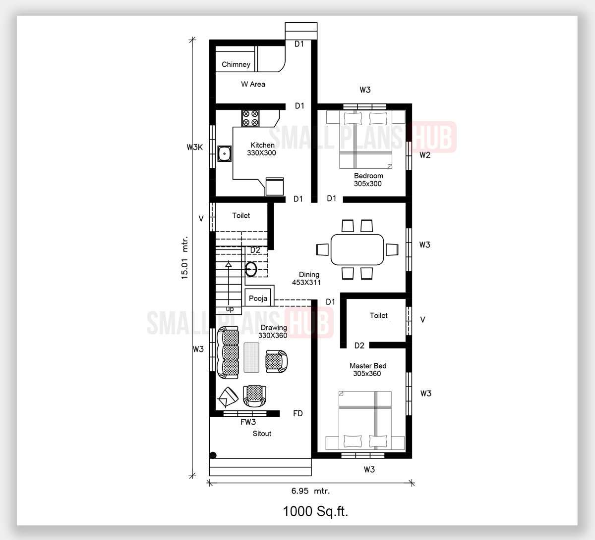 Four Bedroom Double Storey House Plan And Elevation 1674 Sq Ft Small Plans Hub