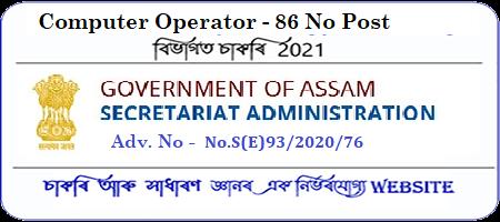 Assam Secretariat Computer Operator recruitment 2021