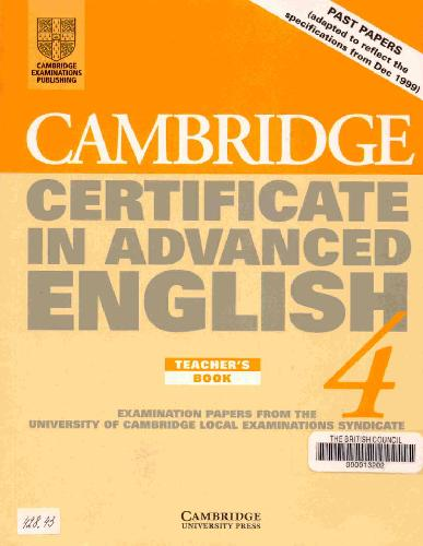 Certificate In Advanced English Teachers Book  By University Of Cambridge Local Examinations Syndicate