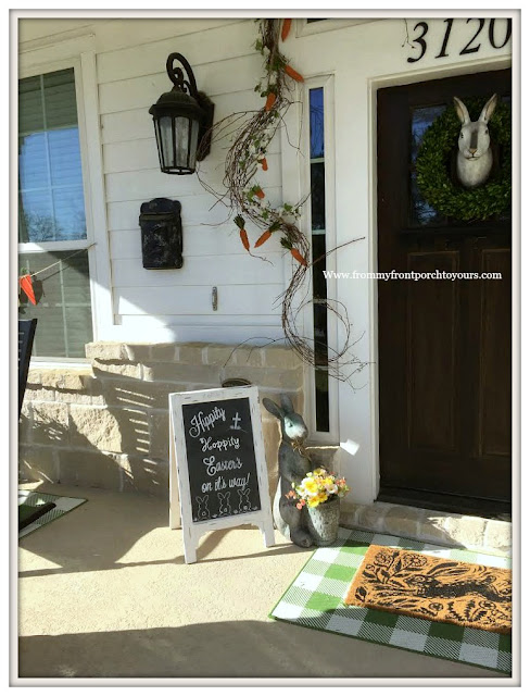 Early Spring Front Porch-Chalkboard-Buffalo Check Rug-Bunny Door Mat-Carrot Garland-From My Front Porch To Yours