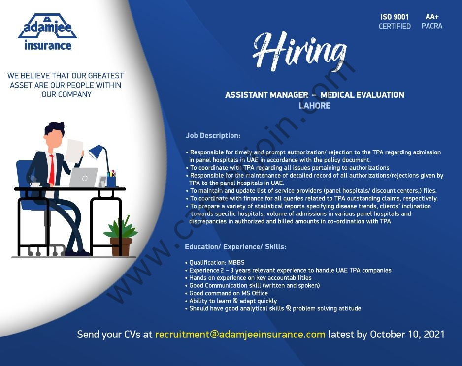 Adamjee Life Insurance Company Limited Jobs Assistant Manager Medical Evaluation