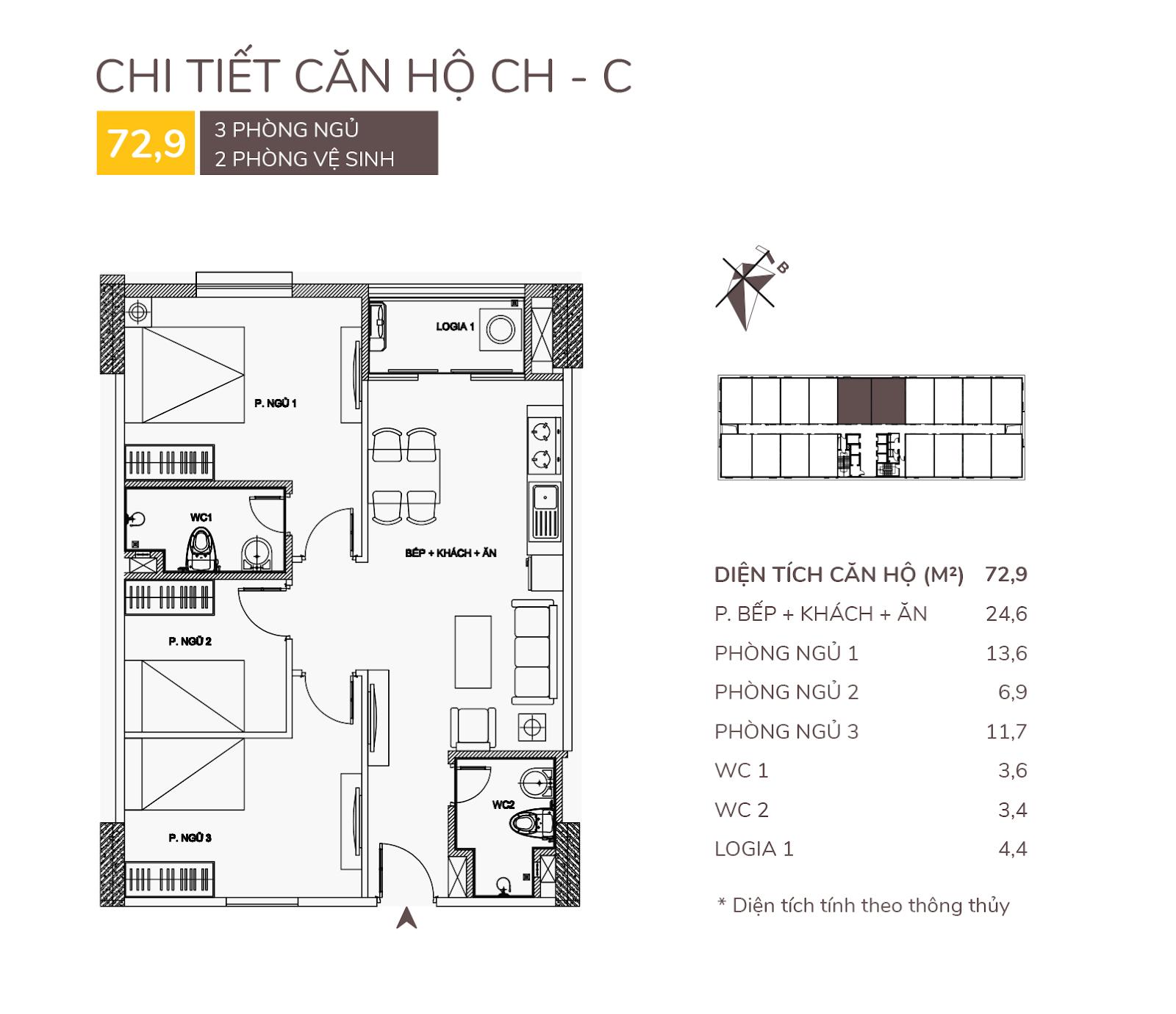 Căn hộ C - 72,9m2 chung cư AQH Riverside.