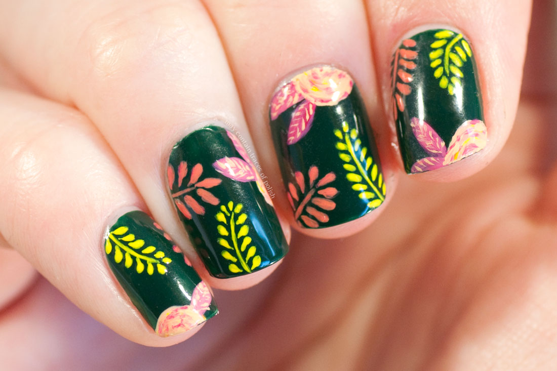 Freehand Flower Manicure in green, yellow and coral tones