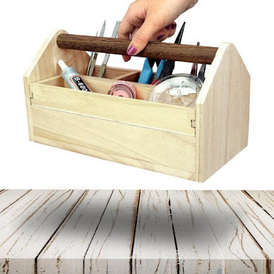 Nile Corp Wholesale #SAT106 Natural Wood Color Wooden Craft Tool Box