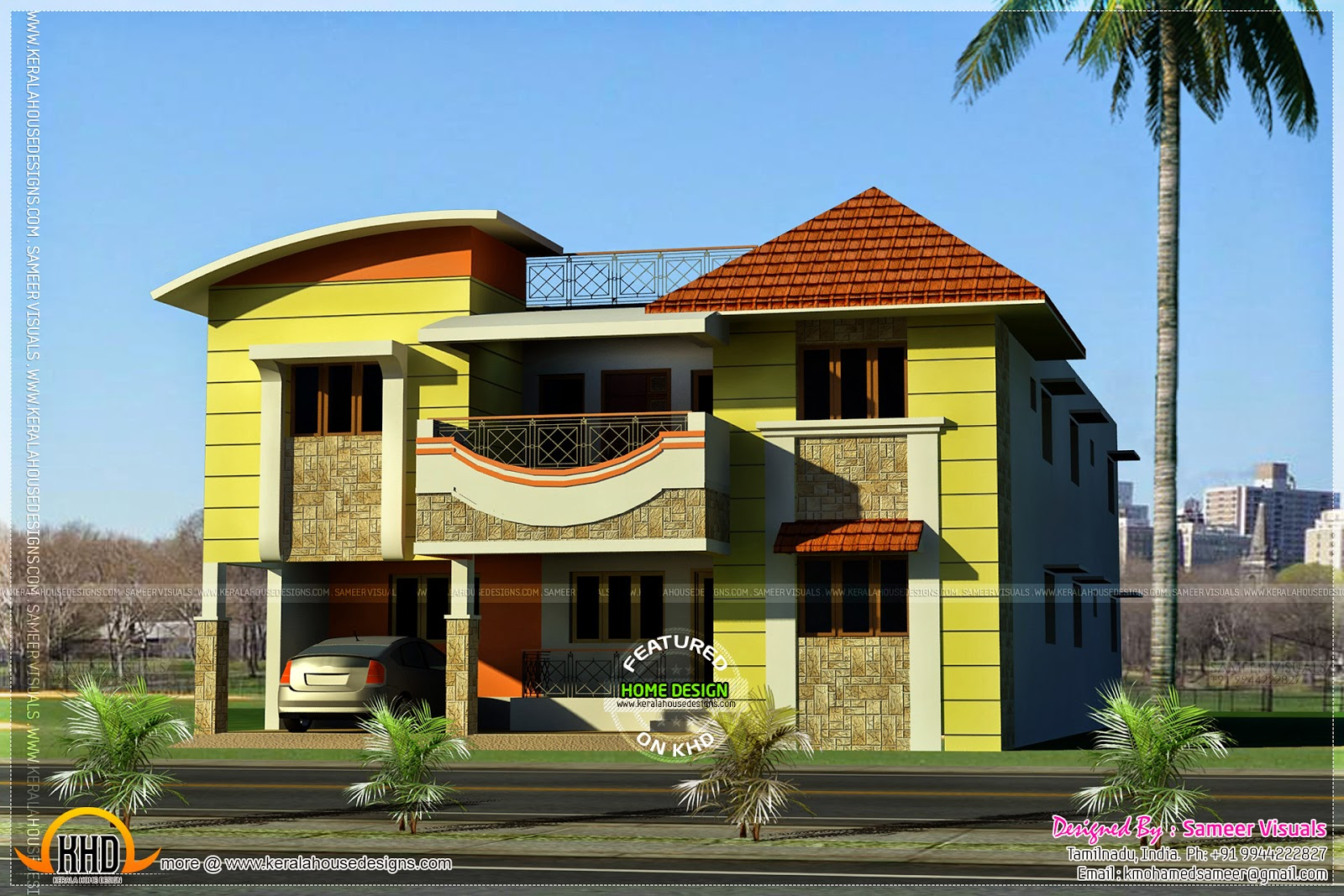 house by sameer visuals - Download Small Modern House Designs In Tamilnadu  PNG