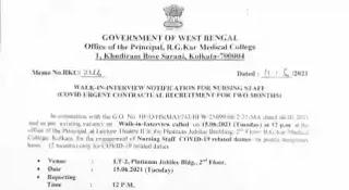 Govt Staff Nurse Vacancy In Kolkata 2021   Notification,17220 Salary