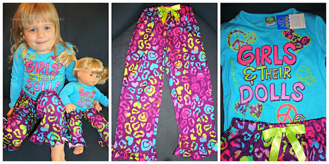 Dollie & Me, girls & dolls sleepwear set, holiday gifts, clothes for american girl bitty twins
