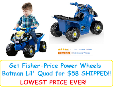Get the Fisher-Price Power Wheels Batman Lil' Quad that's on sale for $57.90--the LOWEST PRICE it has EVER been on Amazon!
