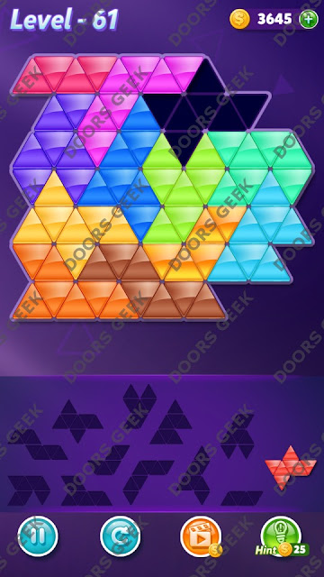 Block! Triangle Puzzle Grandmaster Level 61 Solution, Cheats, Walkthrough for Android, iPhone, iPad and iPod