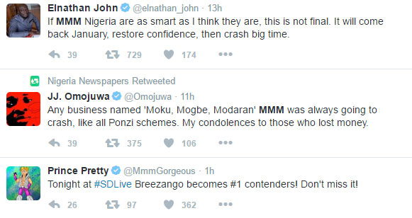 Twitter reacts to MMM Nigeria crash