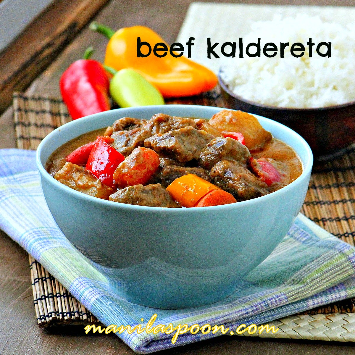 Creamy, nutty, spicy and delicious! This tasty beef stew is comfort food at its best - BEEF KALDERETA #caldereta #kaldereta