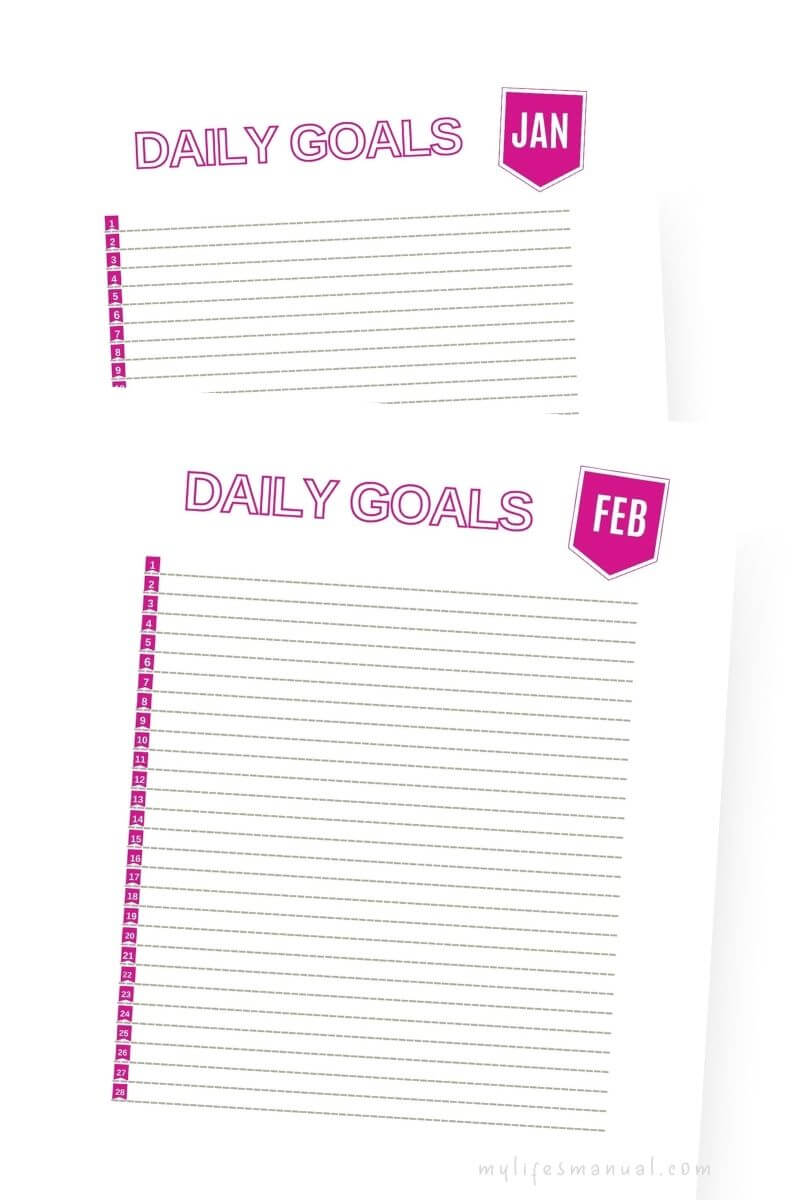 Daily goals printables