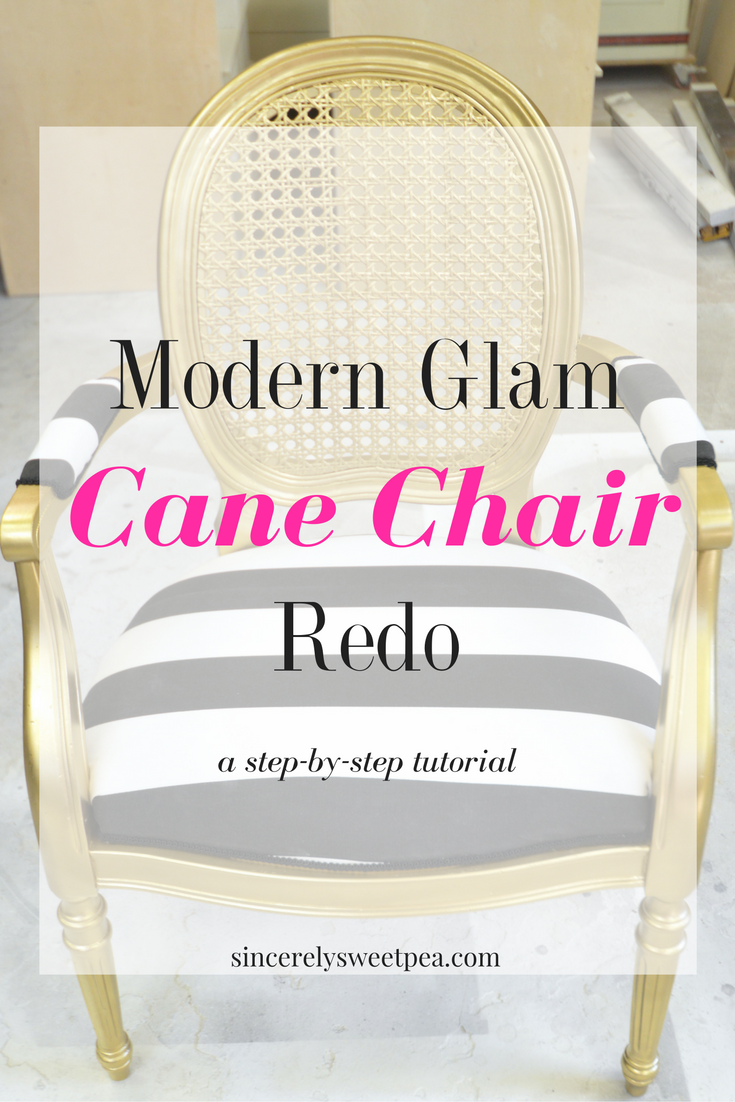 Modern glam cane chair redo
