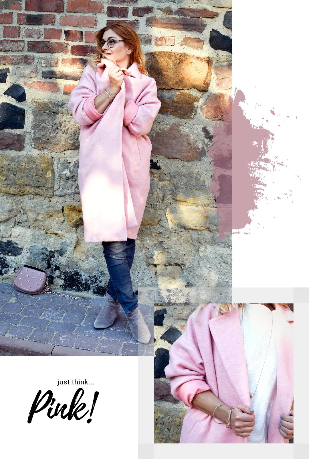 Rosa-kombinieren-Mantel