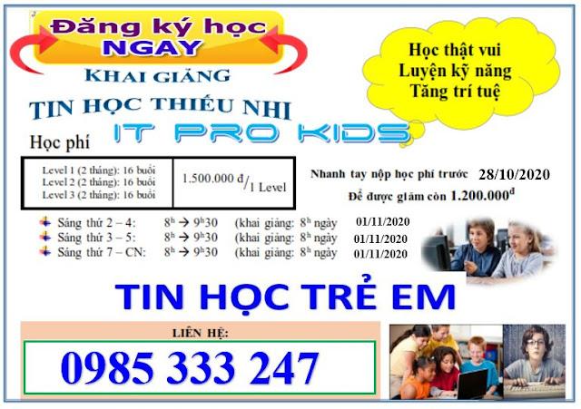 Khai Giảng tin học thiếu nhi IT Pro Kisd