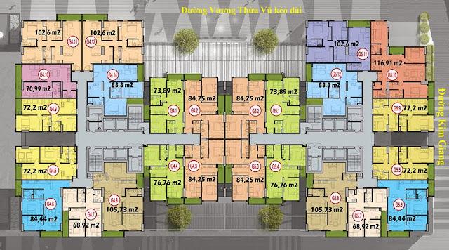 Mặt bằng tòa G4 + G5, chung cư Five Star Garden.