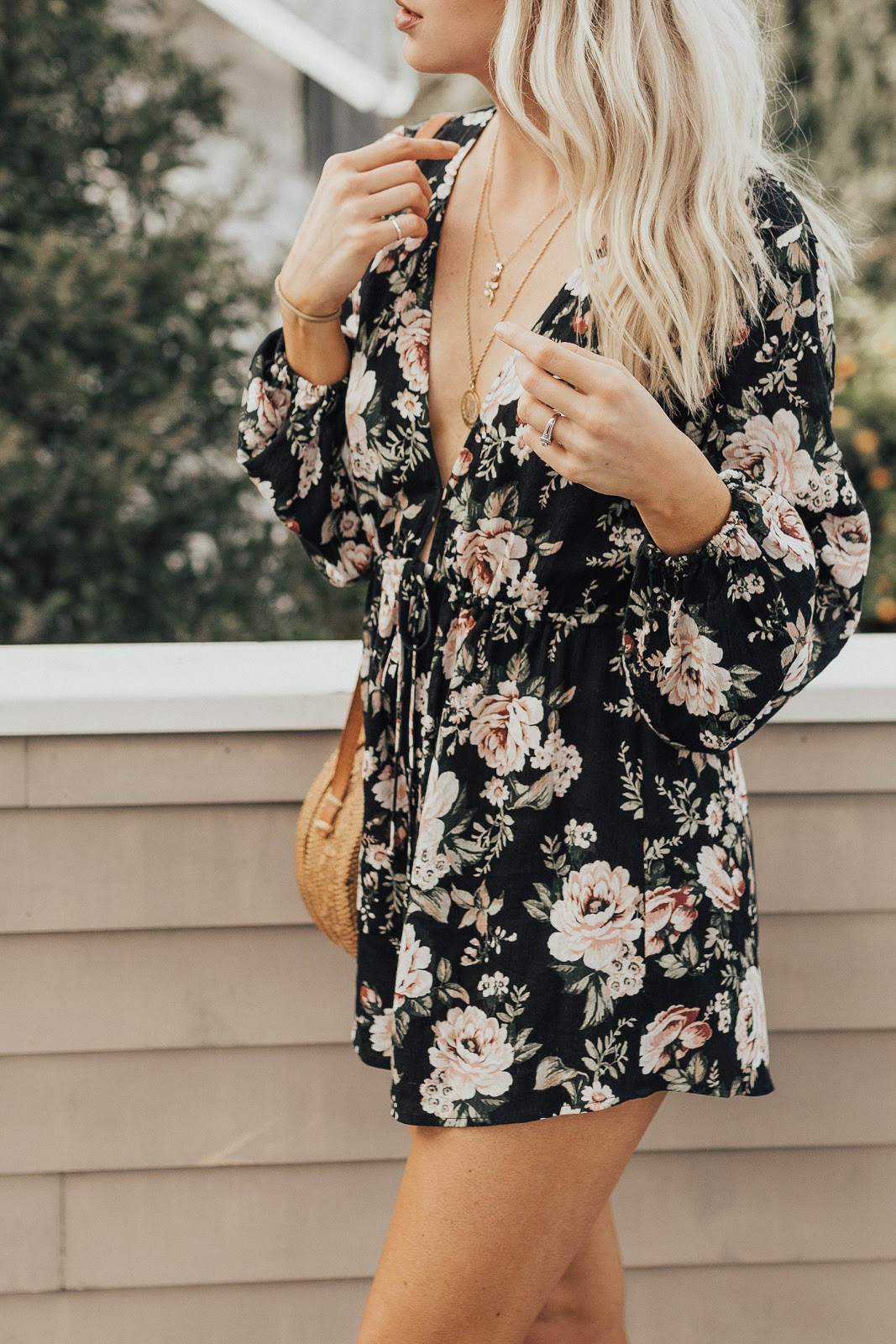 deep v romper with layered necklaces | Love, Lenore
