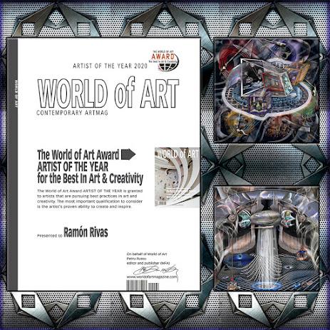 Diploma/Certificado otorgado a Ramón Rivas por el premio: Artista del Año por lo mejor en Arte y Creatividad